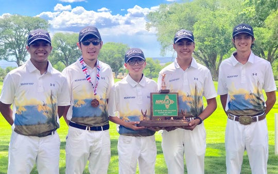 The Deming High Wildcats captured third place at the NM Class 5A State Golf Tournament in Albuquerque. From left are Jordan Caballero, Nemo Perales, Vari Mariscal, Johnny Contreras and Chip Rogers.