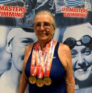 Yenny van Dinter brought home three gold medals from the Masters' Spring Nationals in Mesa, AZ.