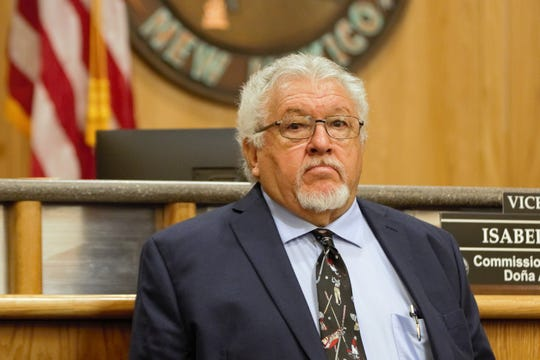 Doña Ana County Commissioner Ramon S. Gonzalez, pictured here at the commissioners' meeting on May 14, urged caution on involving county government and homeowners in PACE loans during the September 10 meeting.