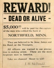 An 1876 wanted poster seeks the capture or killing of the outlaws who perpetrated the Northfield bank robbery.
