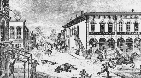 A woodcut depicting the ill-fated robbery of a bank in Northfield, Minn., in 1876 by the James Gang.