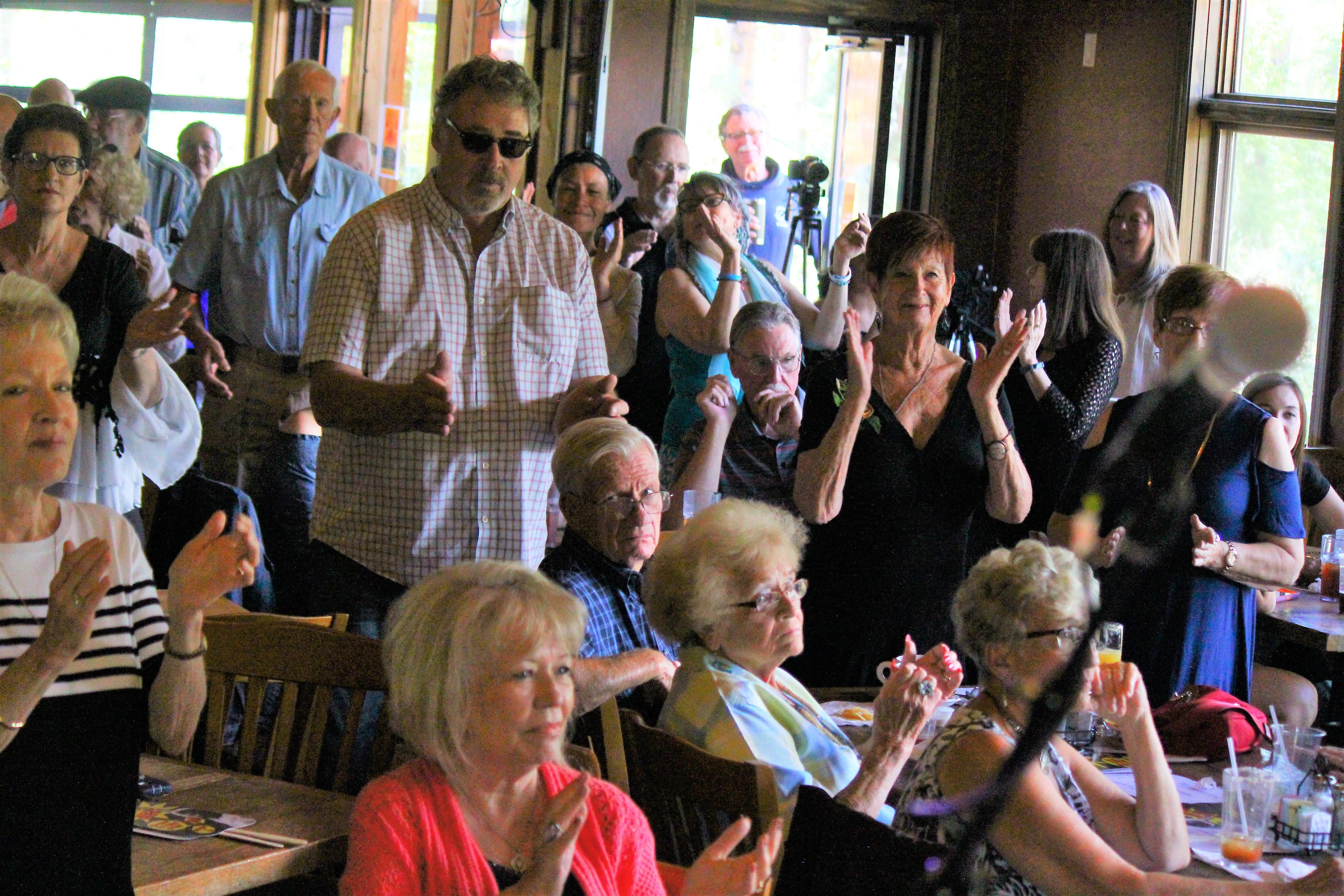 Guests at a Sacred Grounds enjoy the sounds of jamie & aka during a Sunday Gospel Brunch.