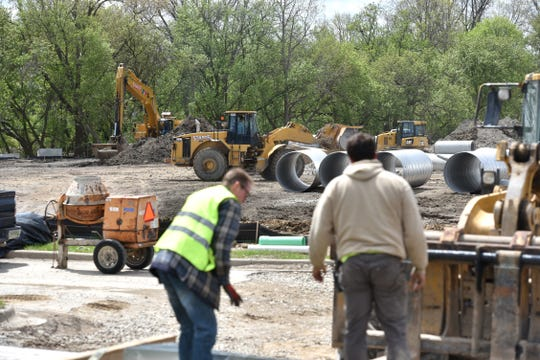 Work continues on May 10, 2019 at Novi's Adell site at Novi Road and I-96, on the grounds of the former Novi Civic Center. Bulldozers were carving out slots for large drainage pipes on that day.