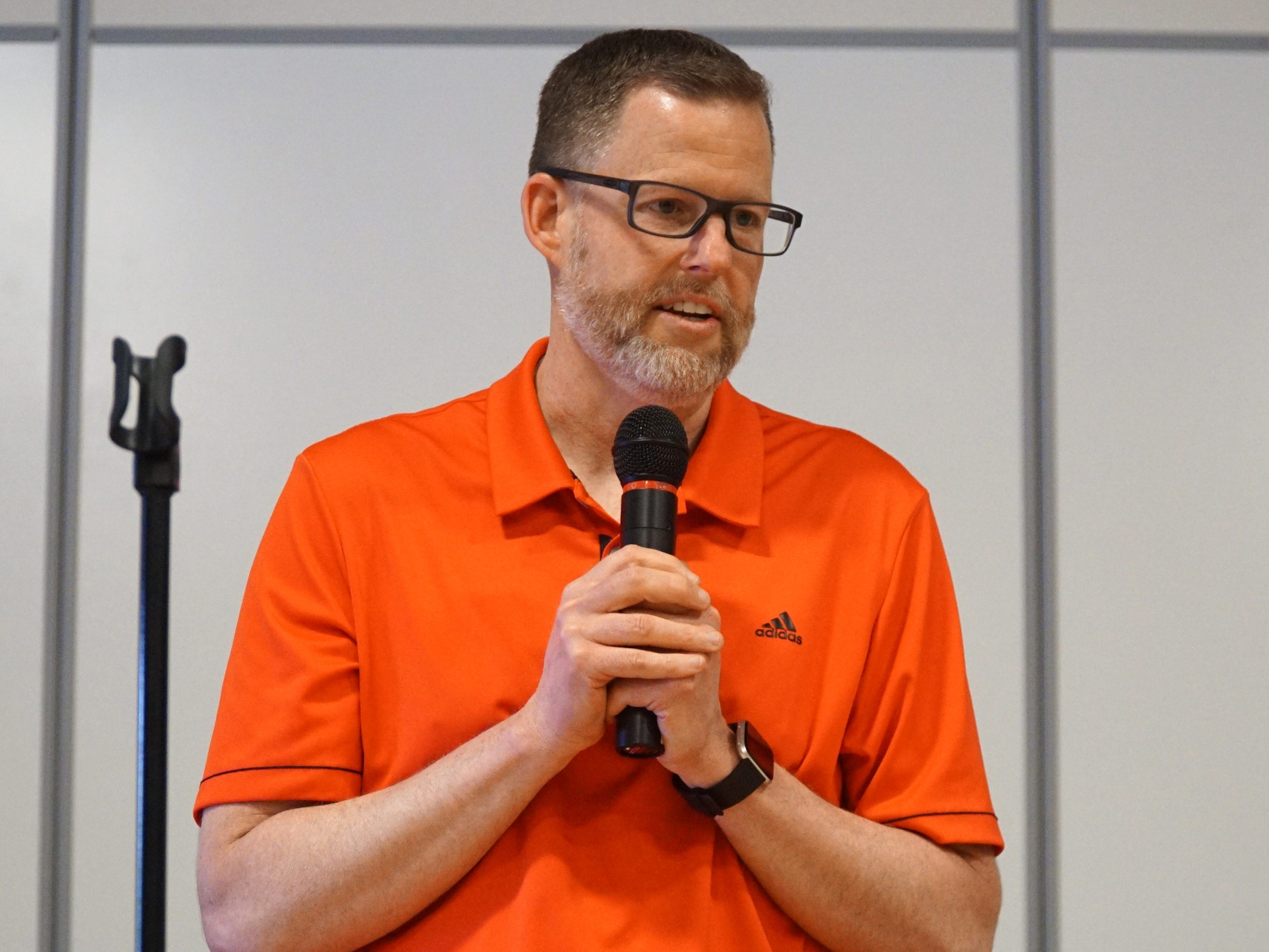 Eriksson Elementary School principal Kevin Learned thanks his students and staff for making it possible for him to throw out the first pitch at the Tigers' June 26th game.