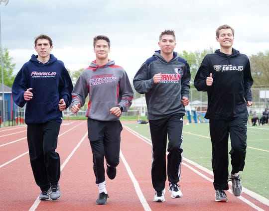 Franlin High School track team members and part of its 200 meter relay team will continue their track careers after graduation. From left are Logan Evanchuk, Russel Russnell, Michael Mackiewicz, and Andrew Ulaszek.