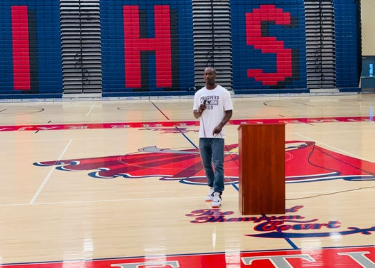 Andre Ingram speaks with about a hundred students, parents and faculty members at Indio High School on Monday, May 13, 2019.