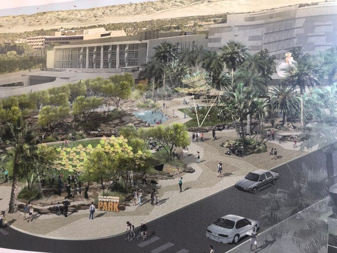 An architect's rendering of the proposed Palm Springs Downtown Park, which would be built in front of the art museum. The drawing has been on display in Palm Springs City Hall.