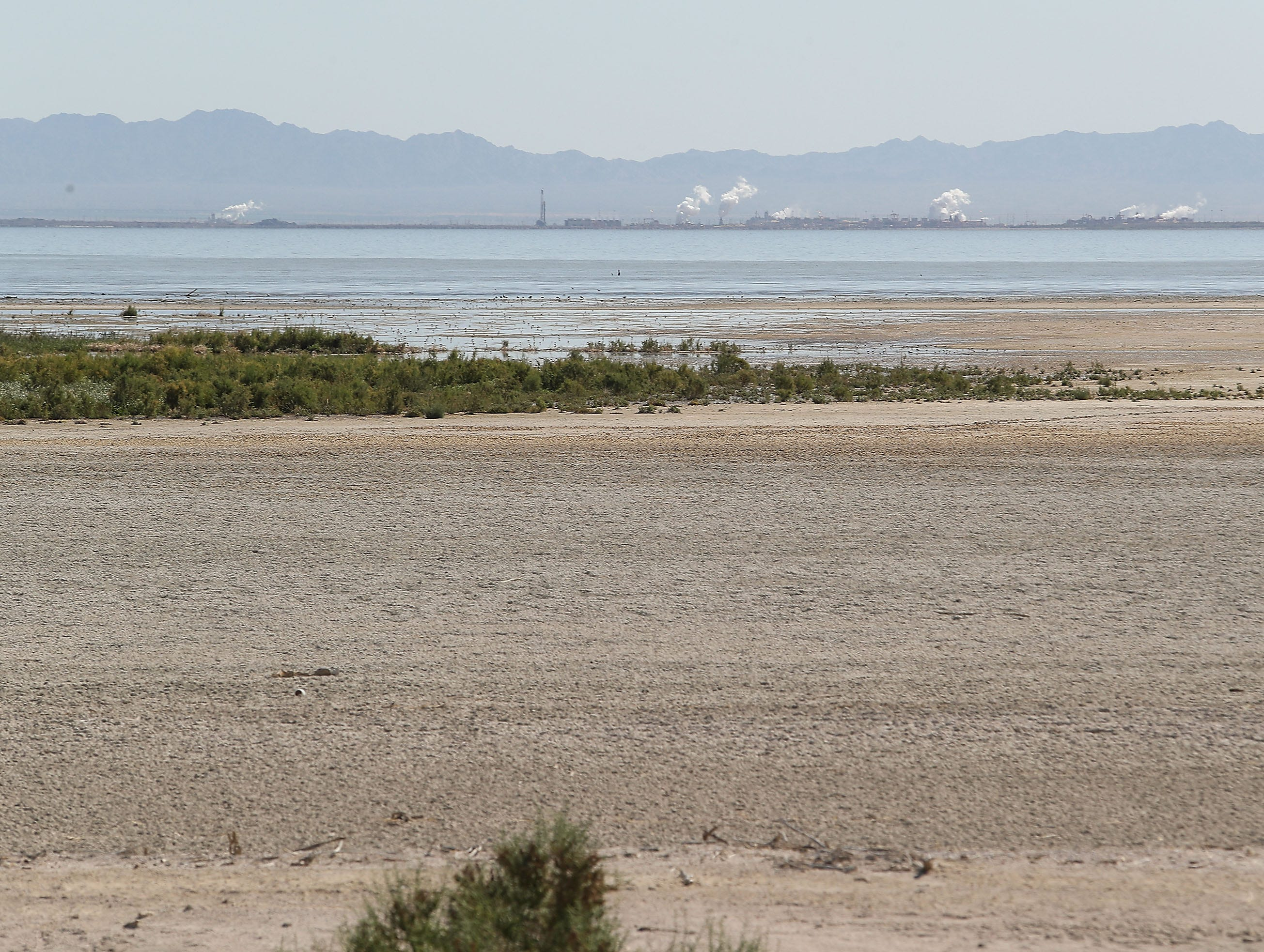 Where there used to be water there is now exposed playa as the Salton Sea recedes away from the Elmore Desert Ranch near Brawley, April 11, 2019.