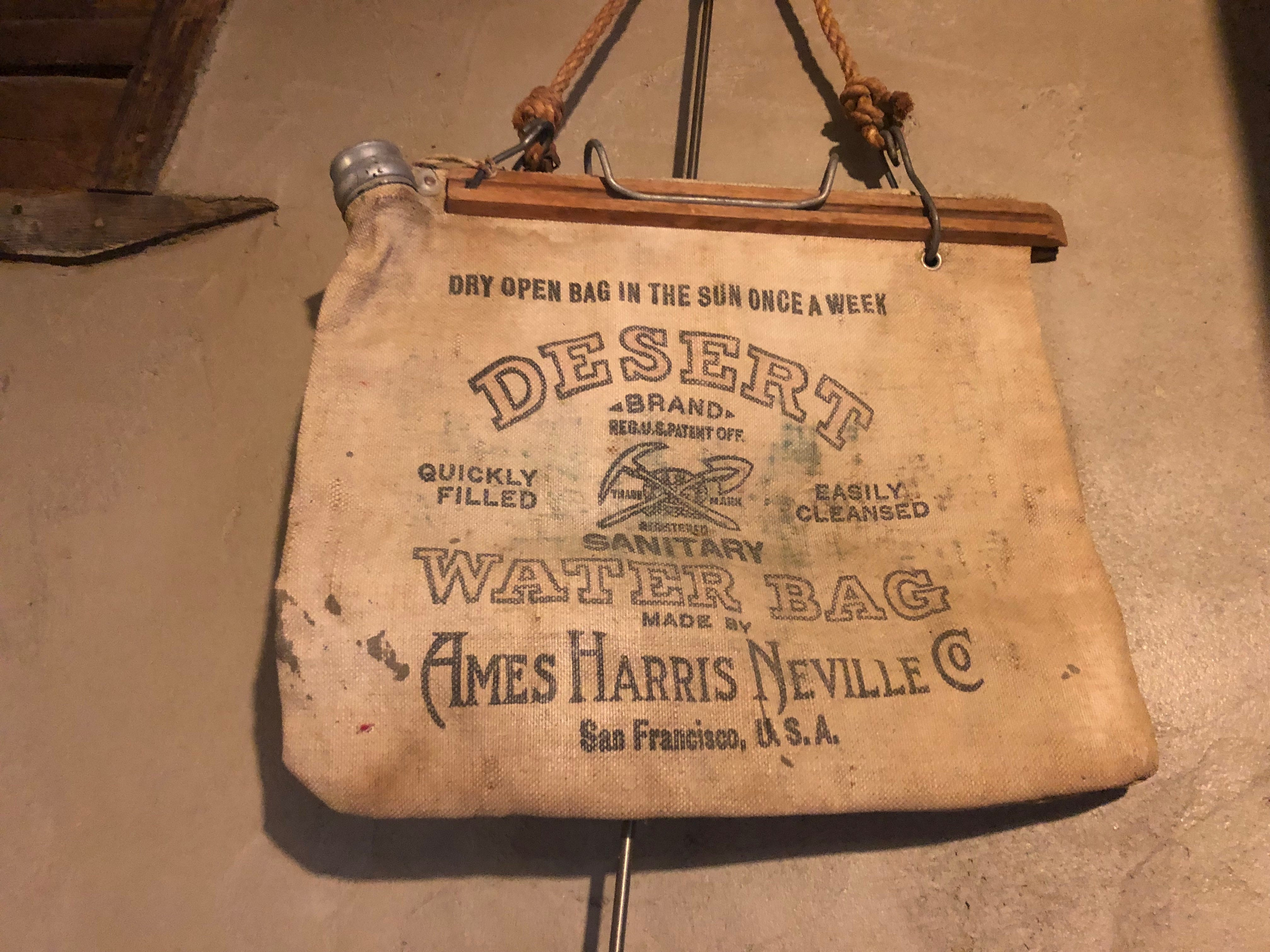 An old water bag on display at Cabot's Pueblo Museum in Desert Hot Springs.