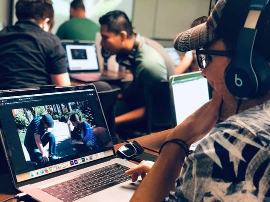 Student Jose M. Verdejo works in College of the Desert's Film Production II class.