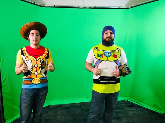 "Joel Villarreal and Joshua Murphy take part in ""Toy Story"" in a College of the Desert on-camera acting class."