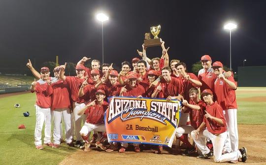 Scottsdale Christian wins the 2A state baseball championship at Tempe Diablo Stadium.