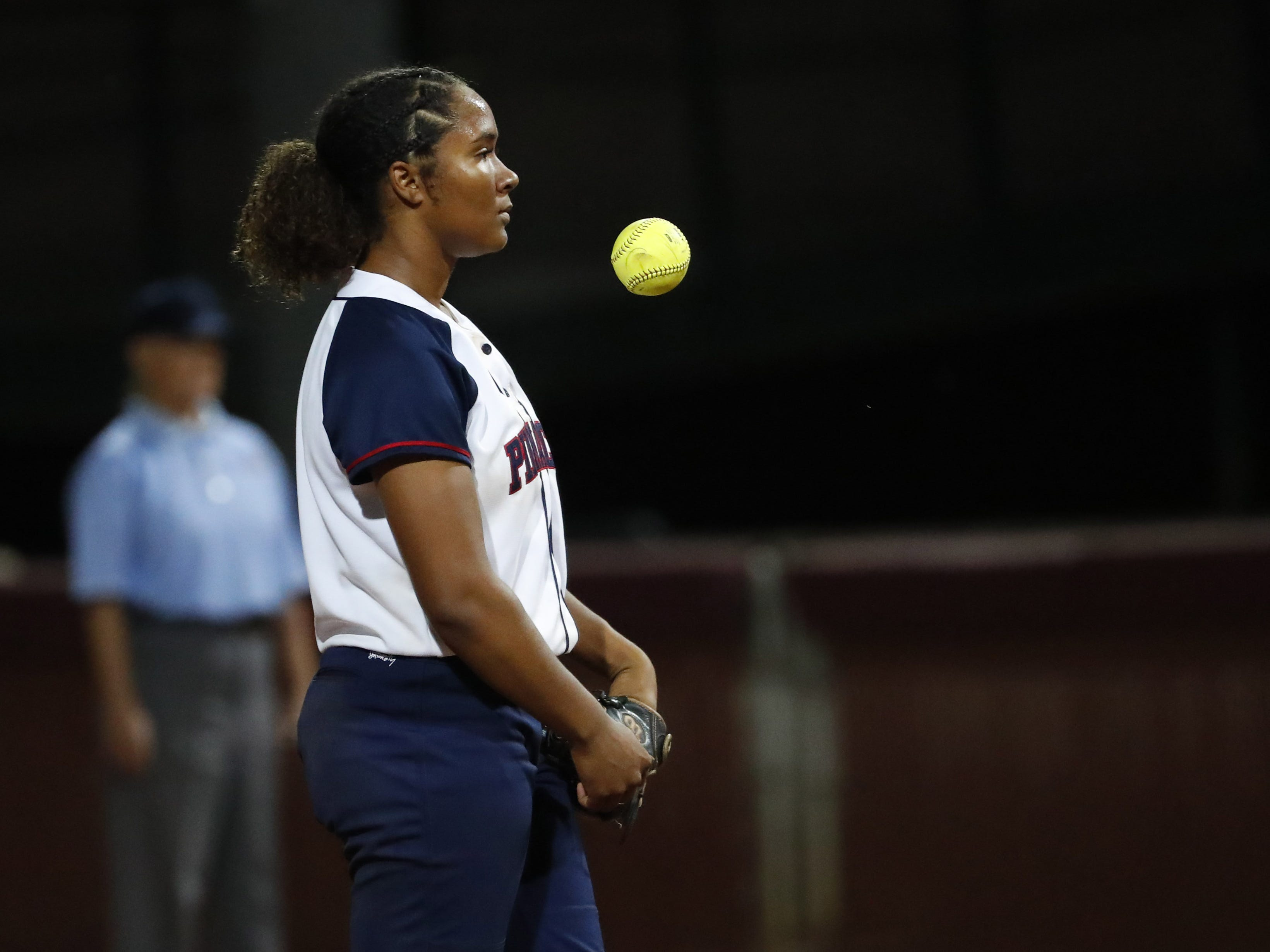 Pinnacle pitcher Morgan Smith (2) waits for a signal against Sandra Day O'Connor during the 6A State Softball Championship in Tempe, Ariz. May 13, 2019.