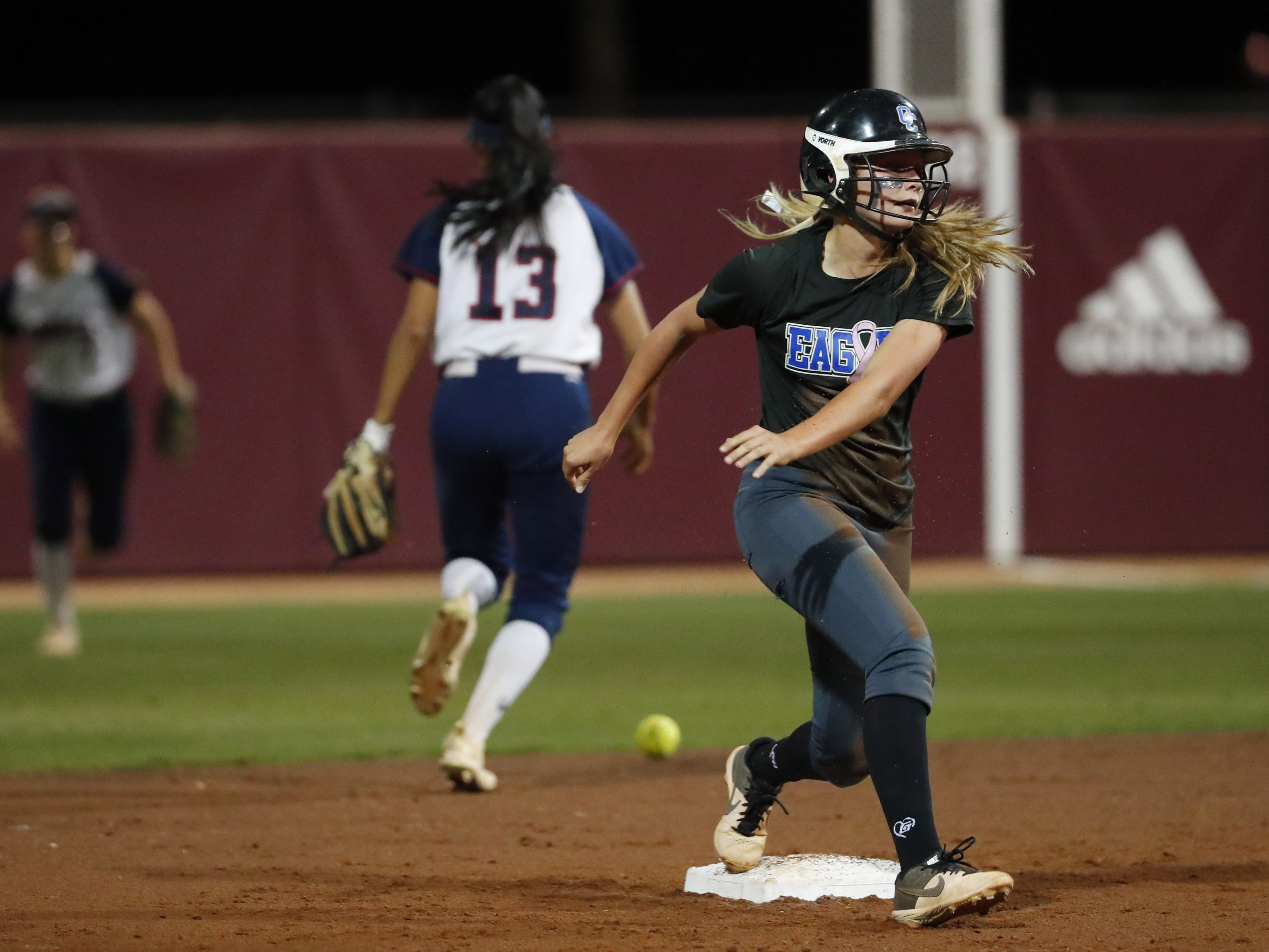 Sandra Day O'Connor third baseman Rylee Holtorf (5) stands on second base after a steal against Pinnacle during the 6A State Softball Championship in Tempe, Ariz. May 13, 2019.