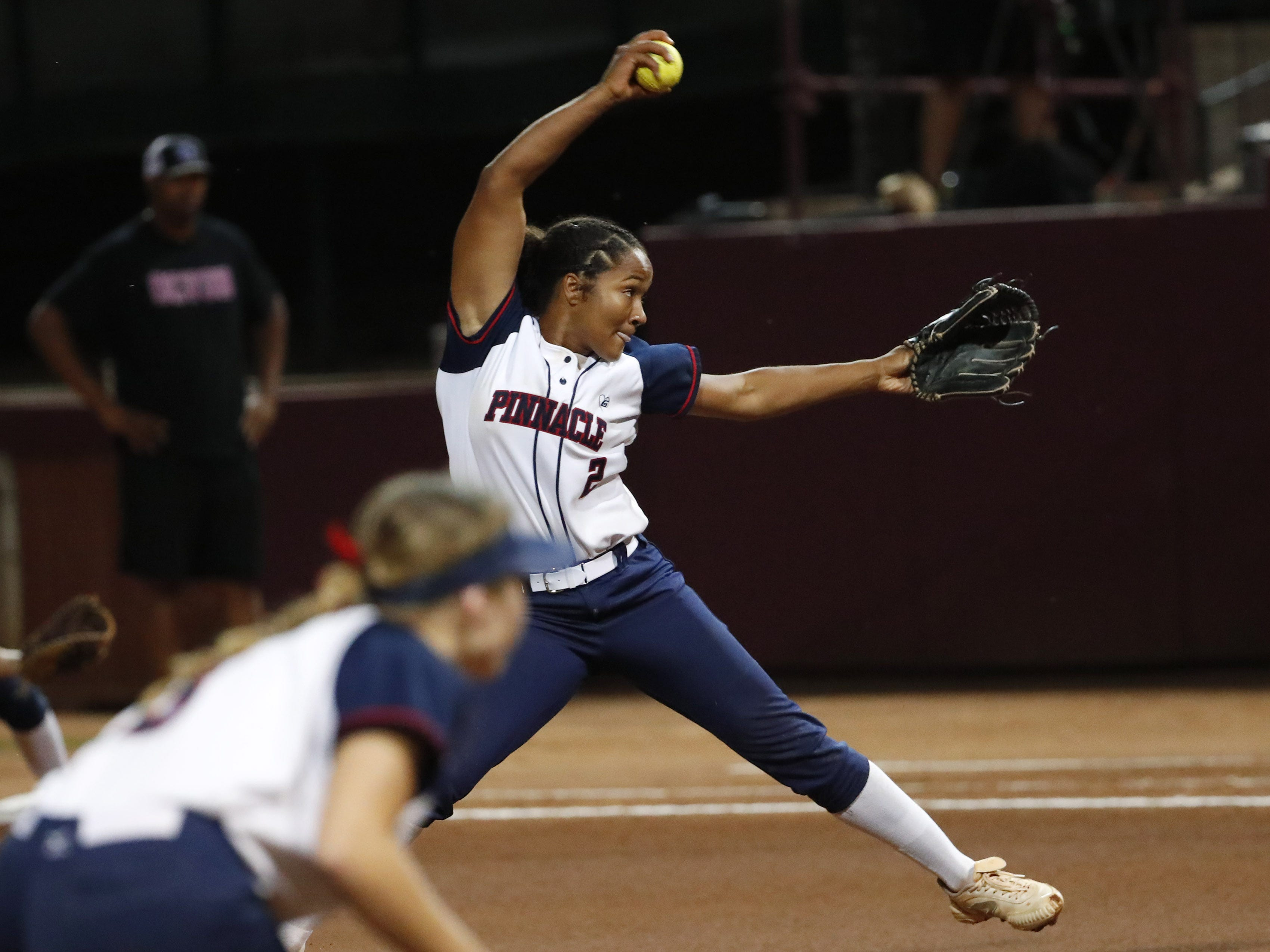 Pinnacle pitcher Morgan Smith (2) throws against Sandra Day O'Connor during the 6A State Softball Championship in Tempe, Ariz. May 13, 2019.