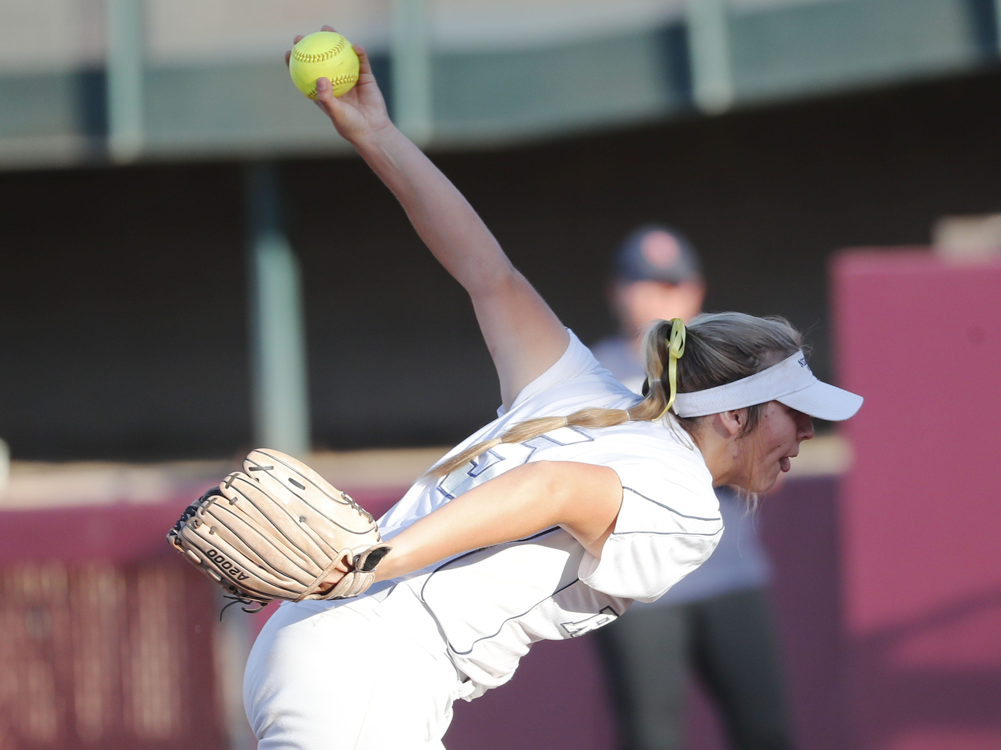 Ironwood Ridge pitcher Shelby Thompson (5) throws against Centennial during the 5A State Softball Championship in Tempe, Ariz. May 13, 2019.