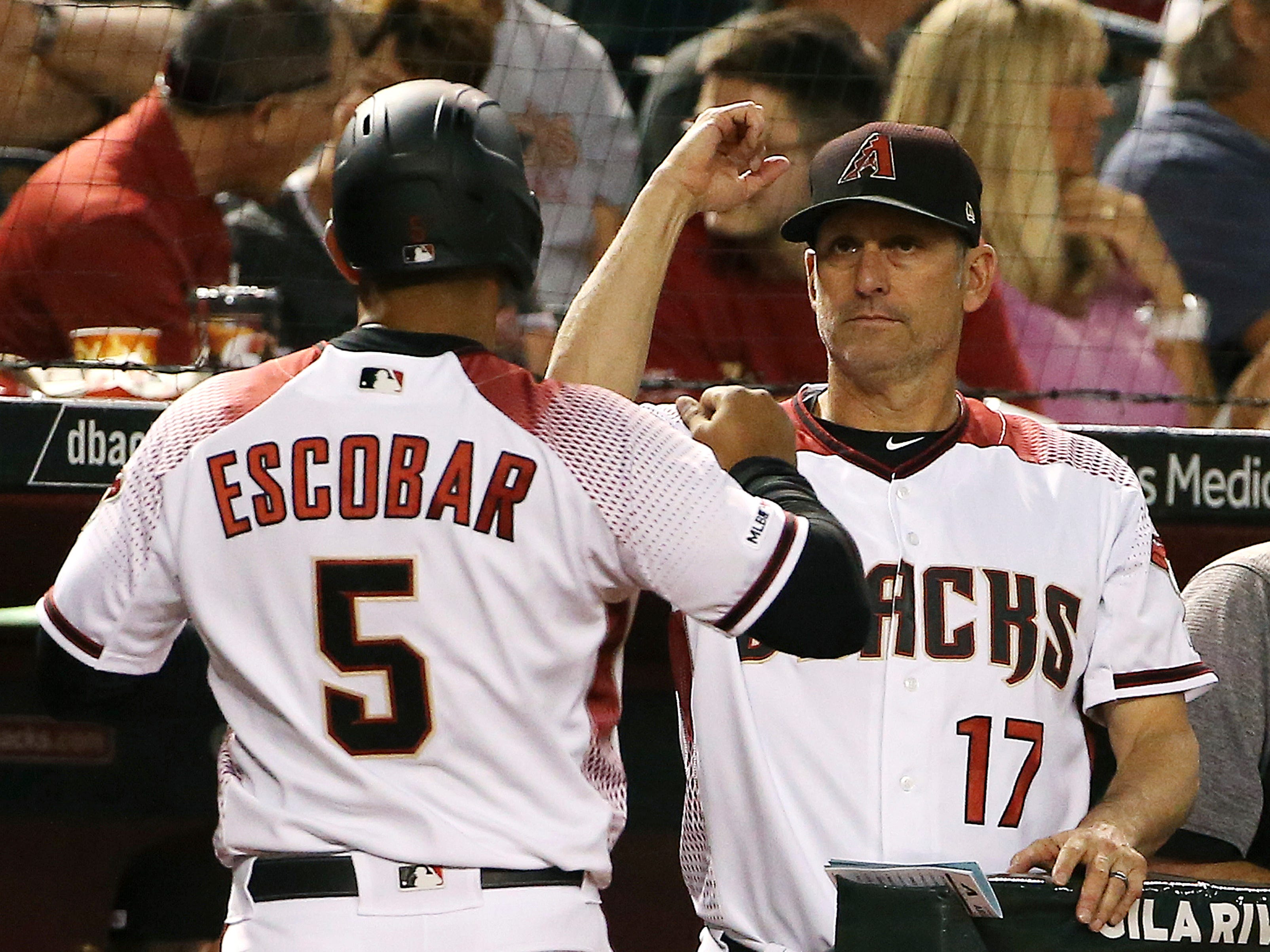 Arizona Diamondbacks manager Torey Lovullo (17) celebrates a run scored against the Pittsburgh Pirates by Eduardo Escobar (5) during the second inning of a baseball game Monday, May 13, 2019, in Phoenix.