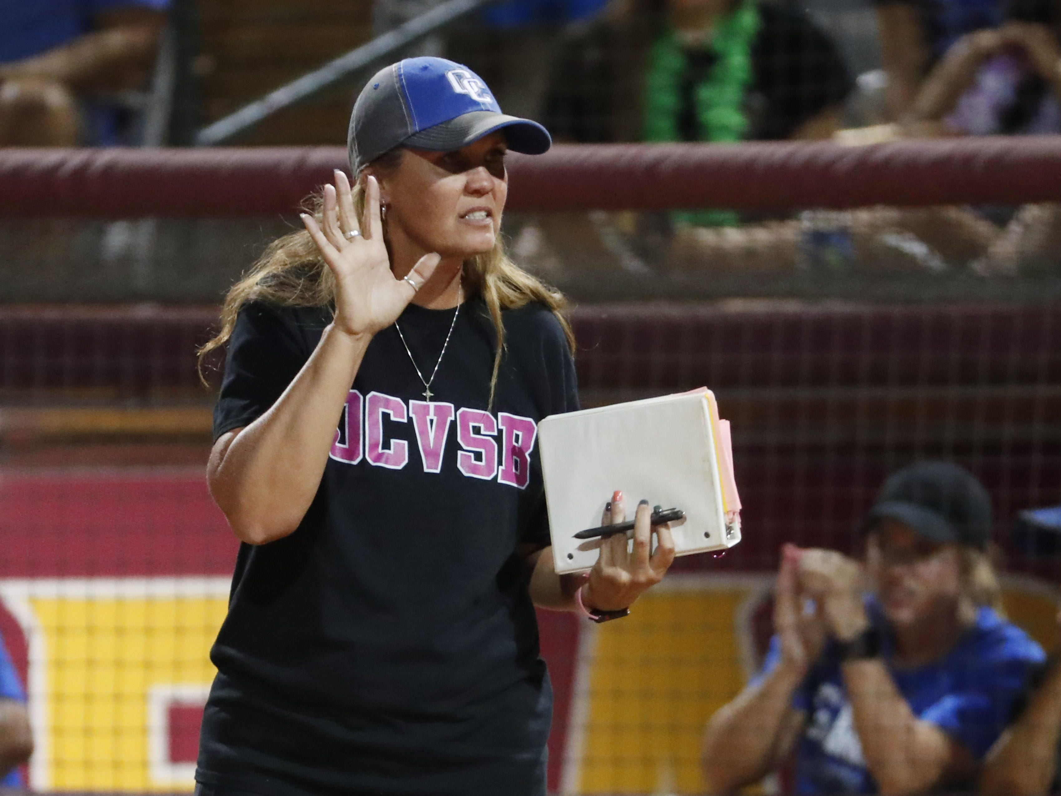 Sandra Day O'Connor head coach Melissa Hobson calls for time against Pinnacle during the 6A State Softball Championship in Tempe, Ariz. May 13, 2019.