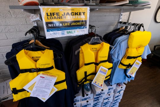 Through a partnership with the Sea Tow Foundation, the St. Clair Harbor has received nearly 50 life jackets that can be borrowed.