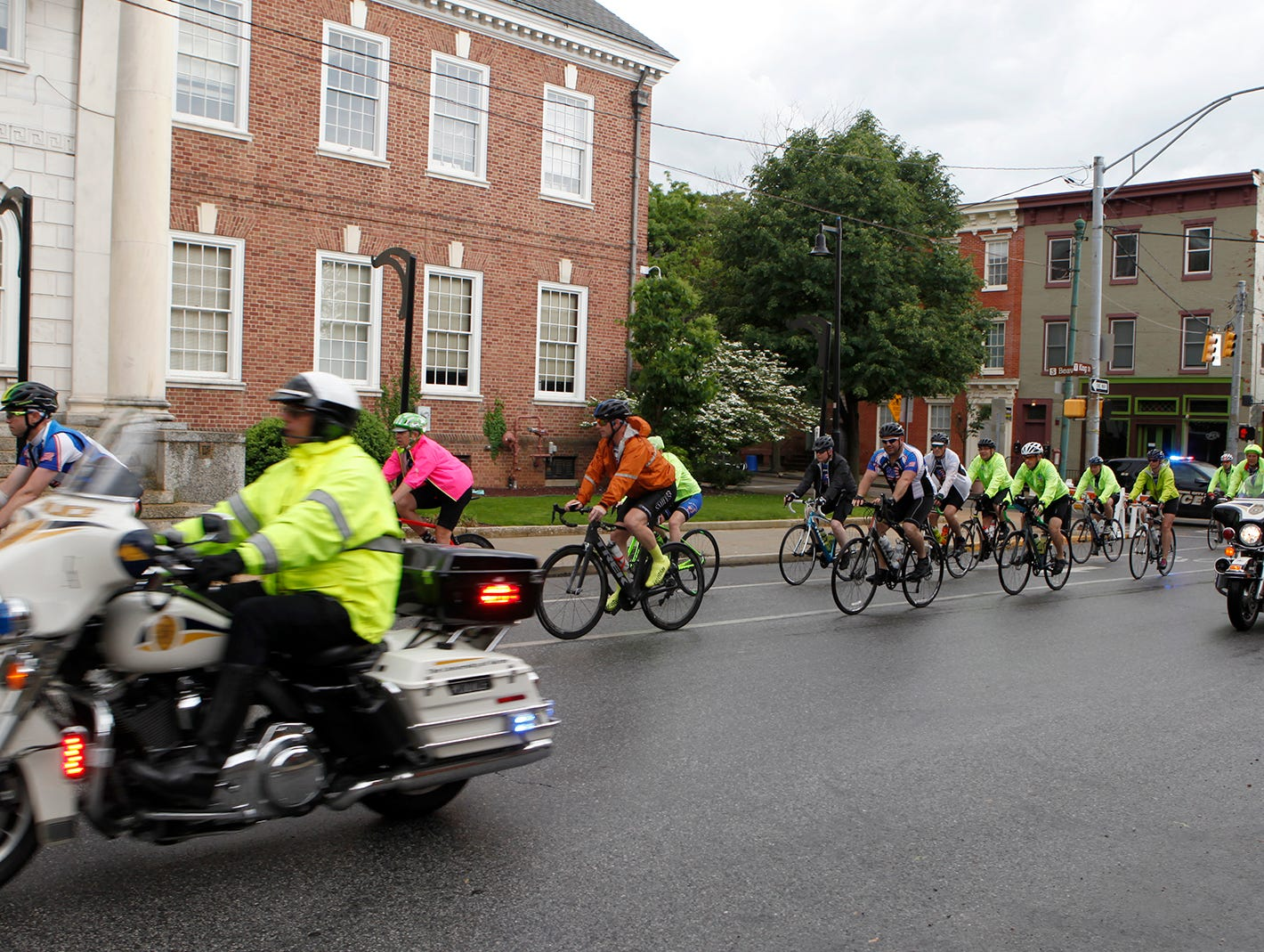 Bicyclist's arrive at the York City Police Department to hold a short memorial service for Officer Alex Sable during the 10th annual Law Enforcement United Road to Hope, Saturday, May 11, 2019.