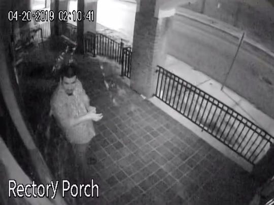 York City Police are looking to identify a man who vandalized St. Patrick's Church around 2 a.m. Saturday, April 20.