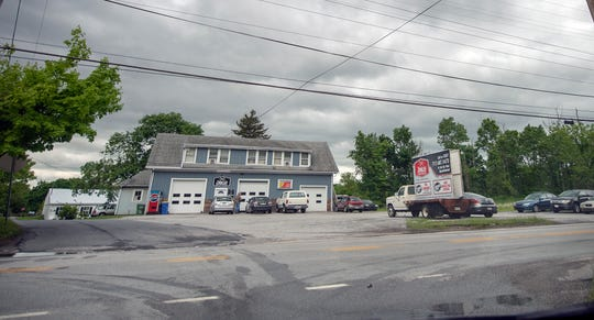 Zirkles Garage and several other buildings would be involved in the high-density rezoning proposal. Locust Lane, at left, intersecting the Susquehanna Trail border the proposed area in Manchester Township.