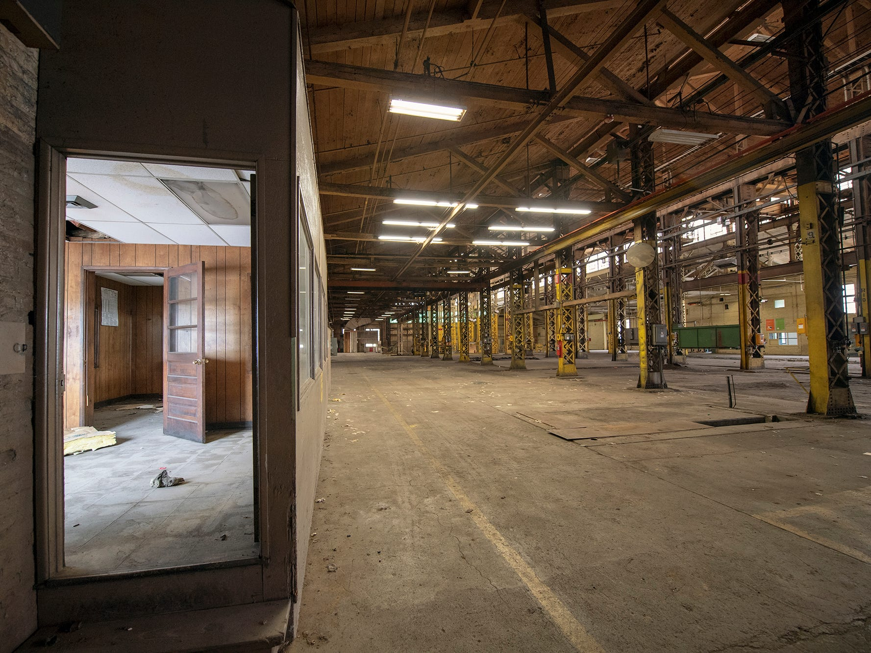 Empty office space in one of the former Metso buildings awaits renovation.