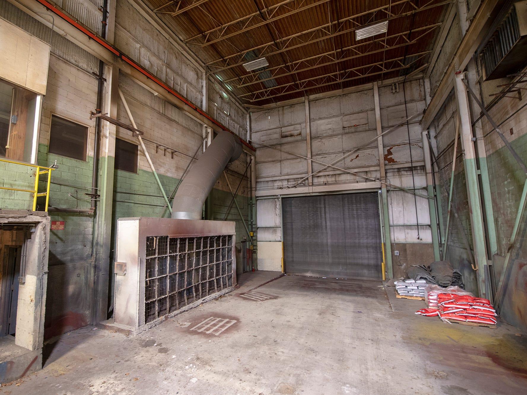 A garage door that faces North Queen Street and stadium parking lot.