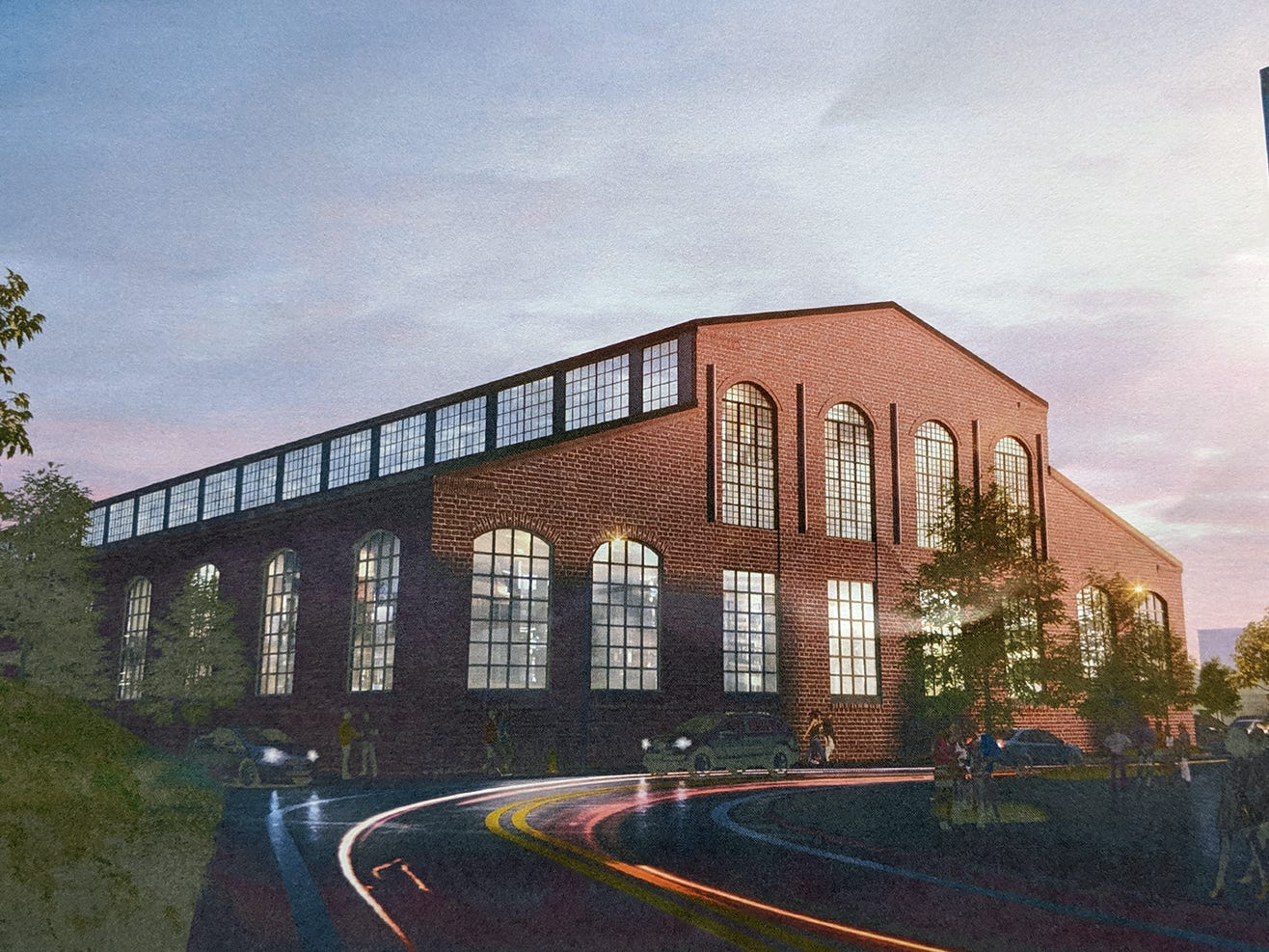 An artist's rendering of what one of the former Metso buildings might look like from the curve that connects Arch and Loucks Mill Road.