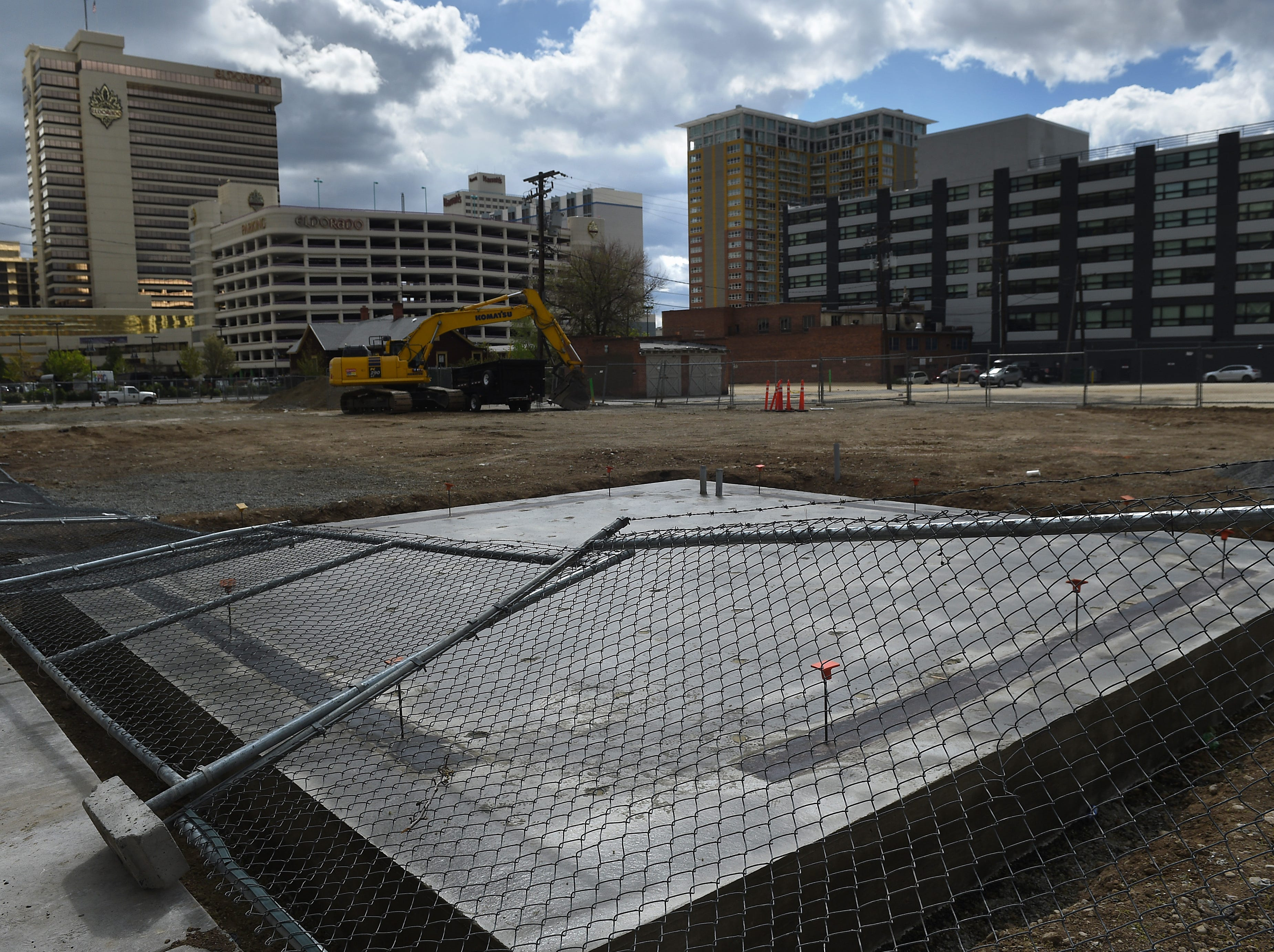 A concrete slab intended for a sculpture garden is seen in Reno on April 30, 2019.