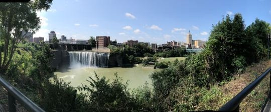 A view of the High Falls from High Falls Terrace Park.