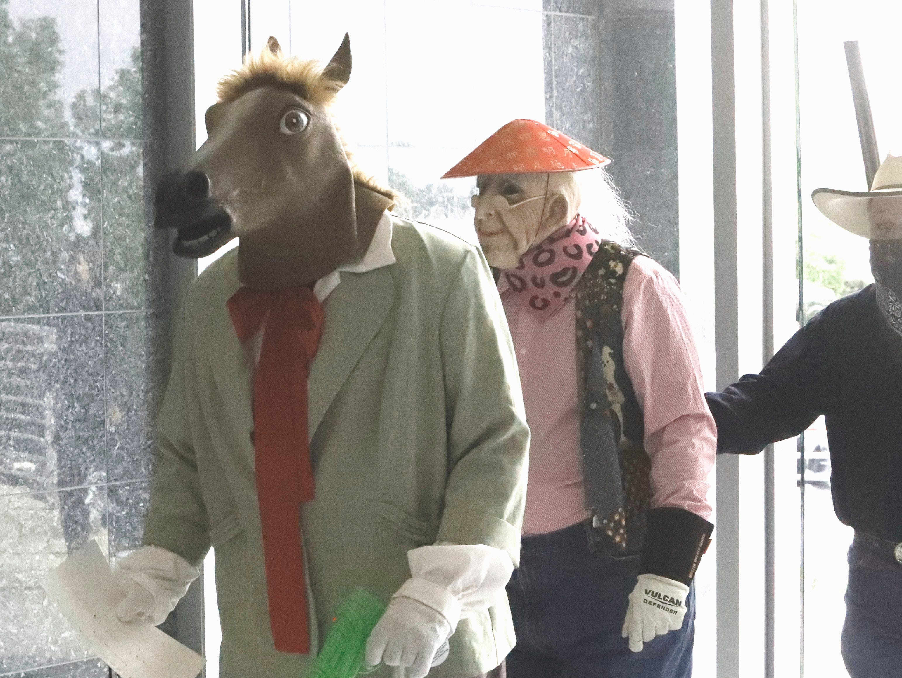 The Lone Stranger and Sidekick pulled off a fake heist Tuesday, May 14, 2019, at Golden Valley Bank on Hemsted Drive. The mock robbery is part of Rodeo Week and staged by the Asphalt Cowboys, who weren't able to catch the duo during the getaway.
