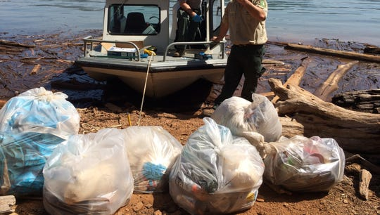 This is the trash collected by the U.S. Forest Service after Oregon students left Lake Shasta at the end of Mother's Day weekend 2019. The agency said it's not much compared to past years.