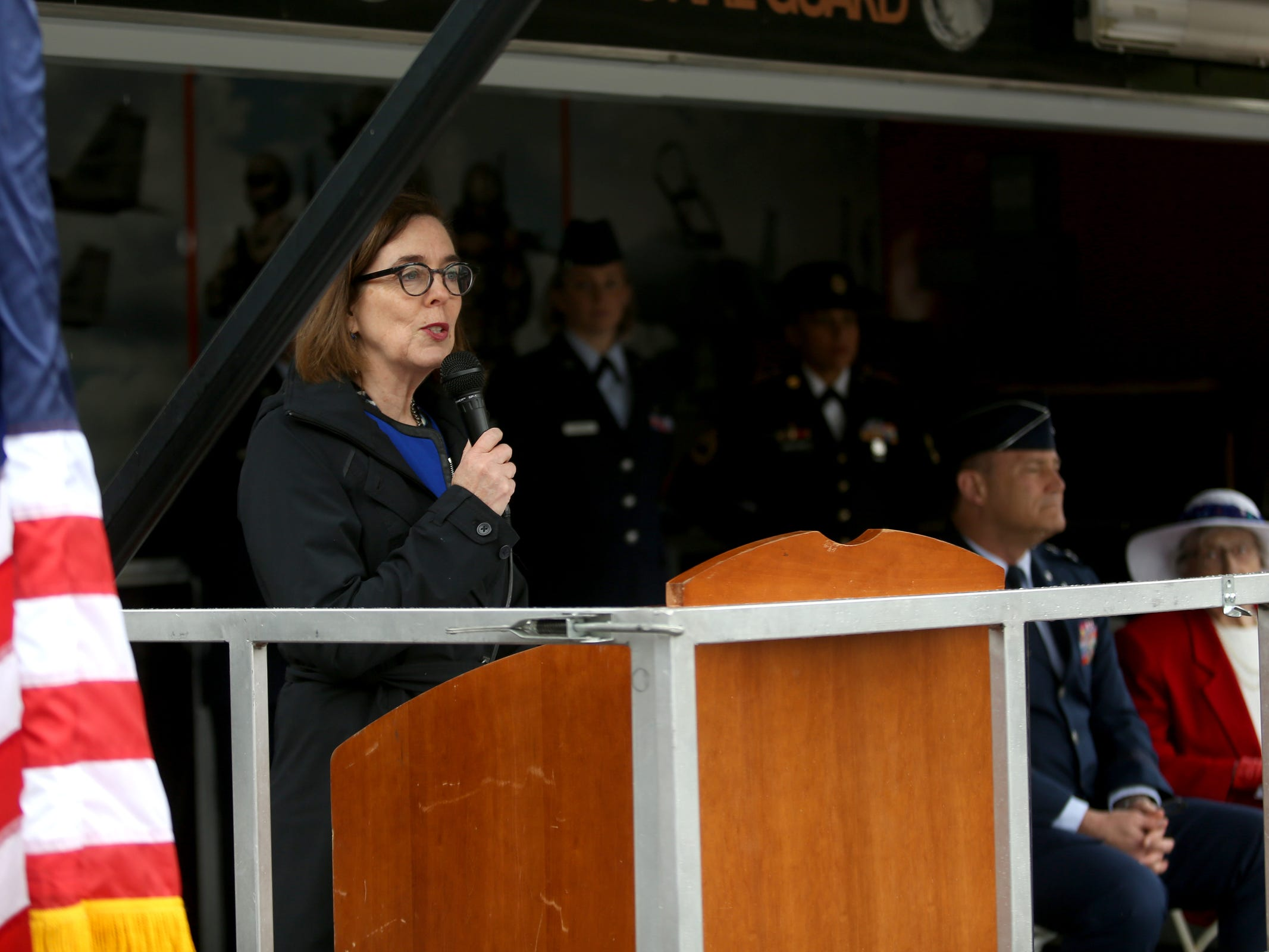 Gov. Kate Brown speaks during an Armed Forces Day celebration at the Oregon State Capitol in Salem on May 14, 2019.