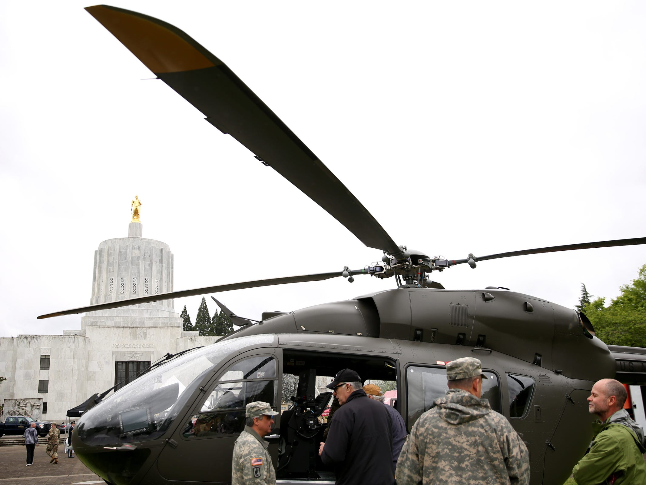 Helicopters and other military equipment filled the Capitol Mall during an Armed Forces Day celebration at the Oregon State Capitol in Salem on May 14, 2019.
