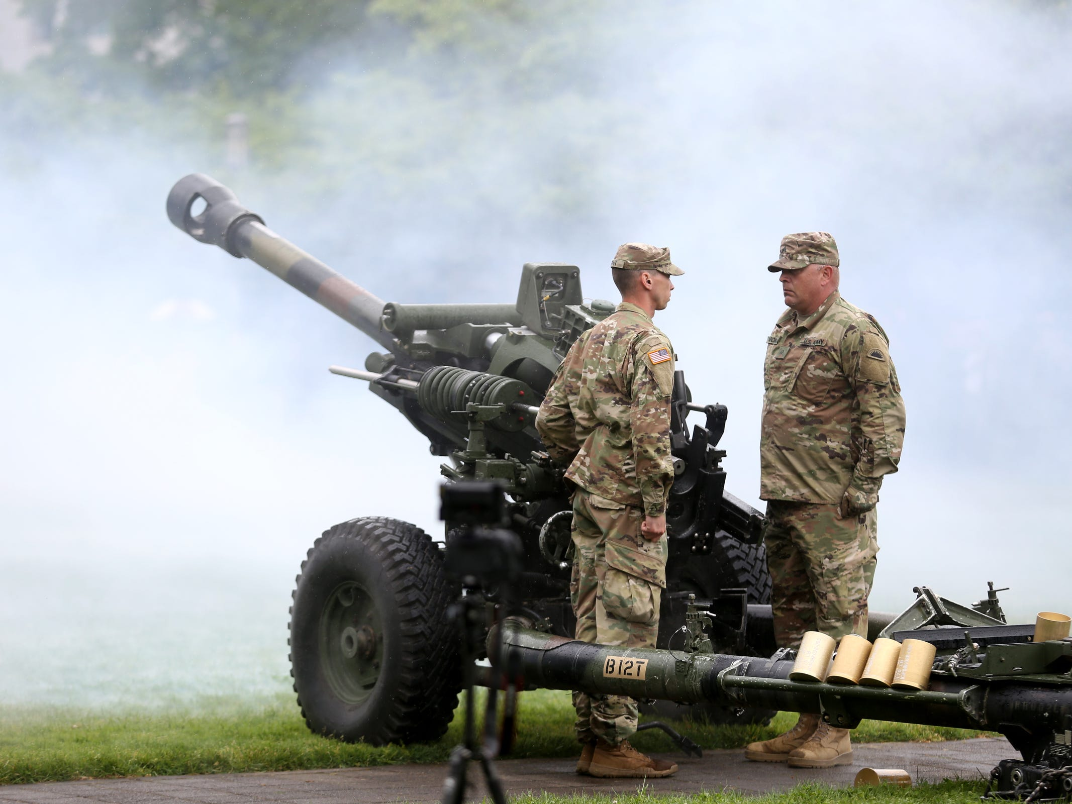 A Howitzer artillery salute during an Armed Forces Day celebration at the Oregon State Capitol in Salem on May 14, 2019.