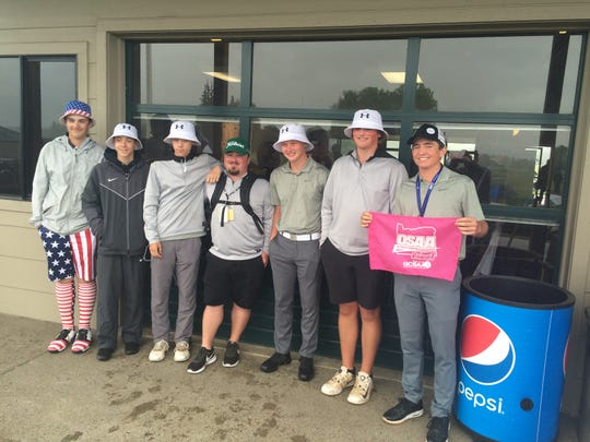 West Salem's boys golf team at the OSAA state championships Tuesday. Brandon Eyre (far right) placed fifth in the tournament.