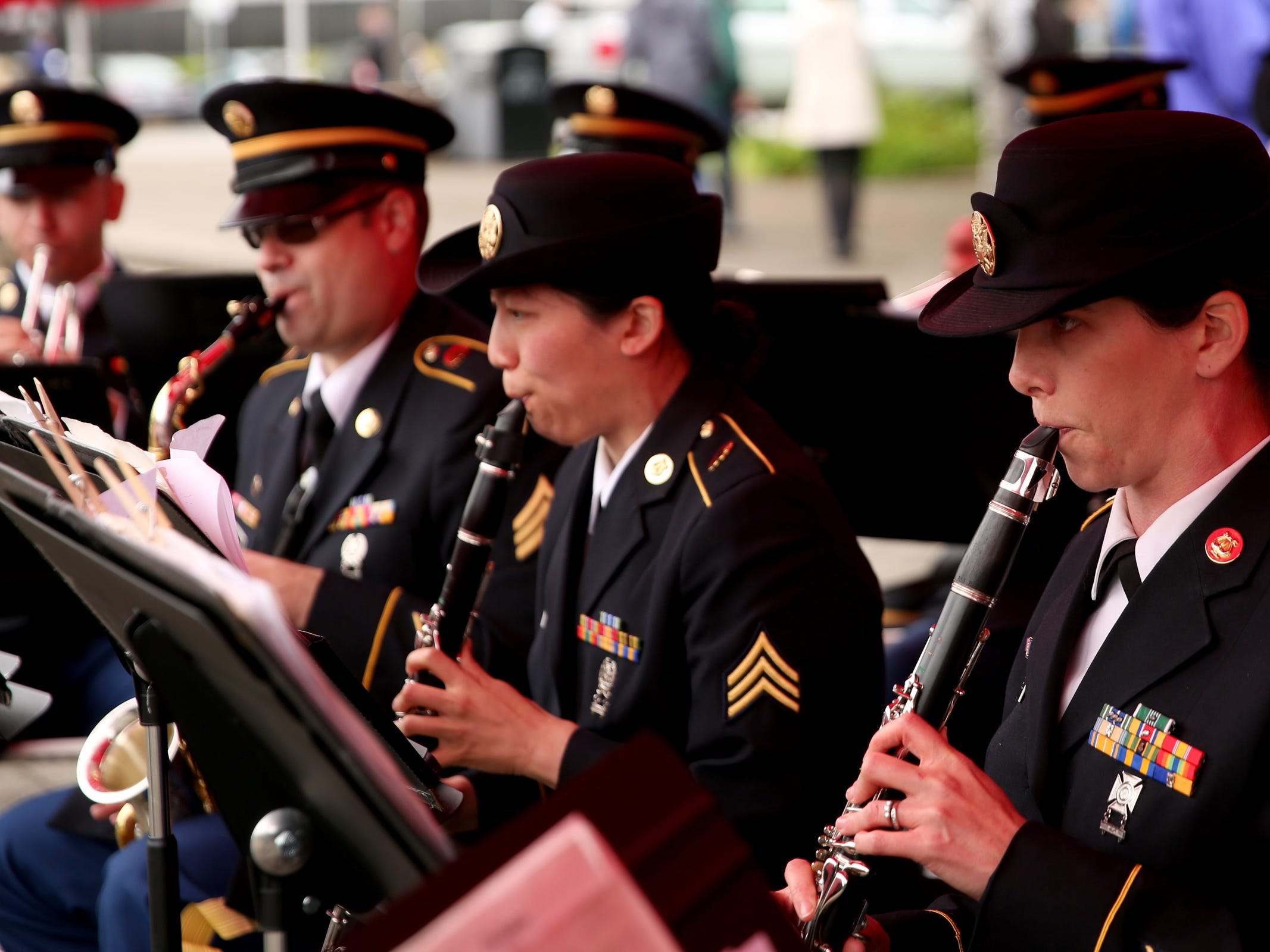 The Oregon Army National GuardÕs 234th Army Band performs during an Armed Forces Day celebration at the Oregon State Capitol in Salem on May 14, 2019.