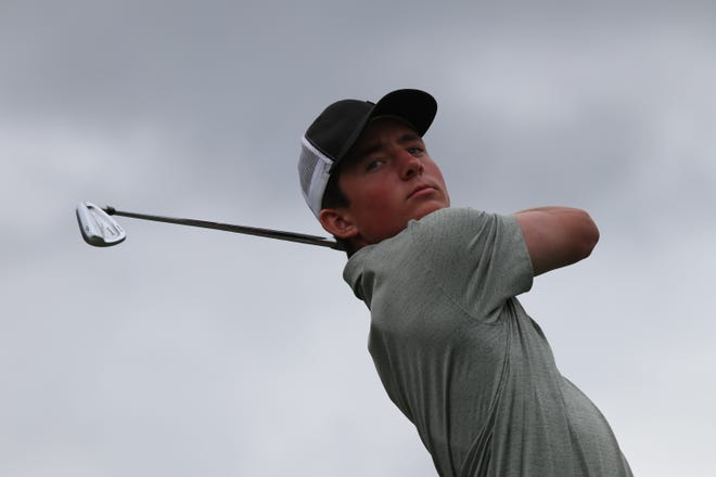 West Salem's Brandon Eyre competes in the OSAA high school state golf championship at Trysting Tree Golf Club in Corvallis on May 14, 2019.