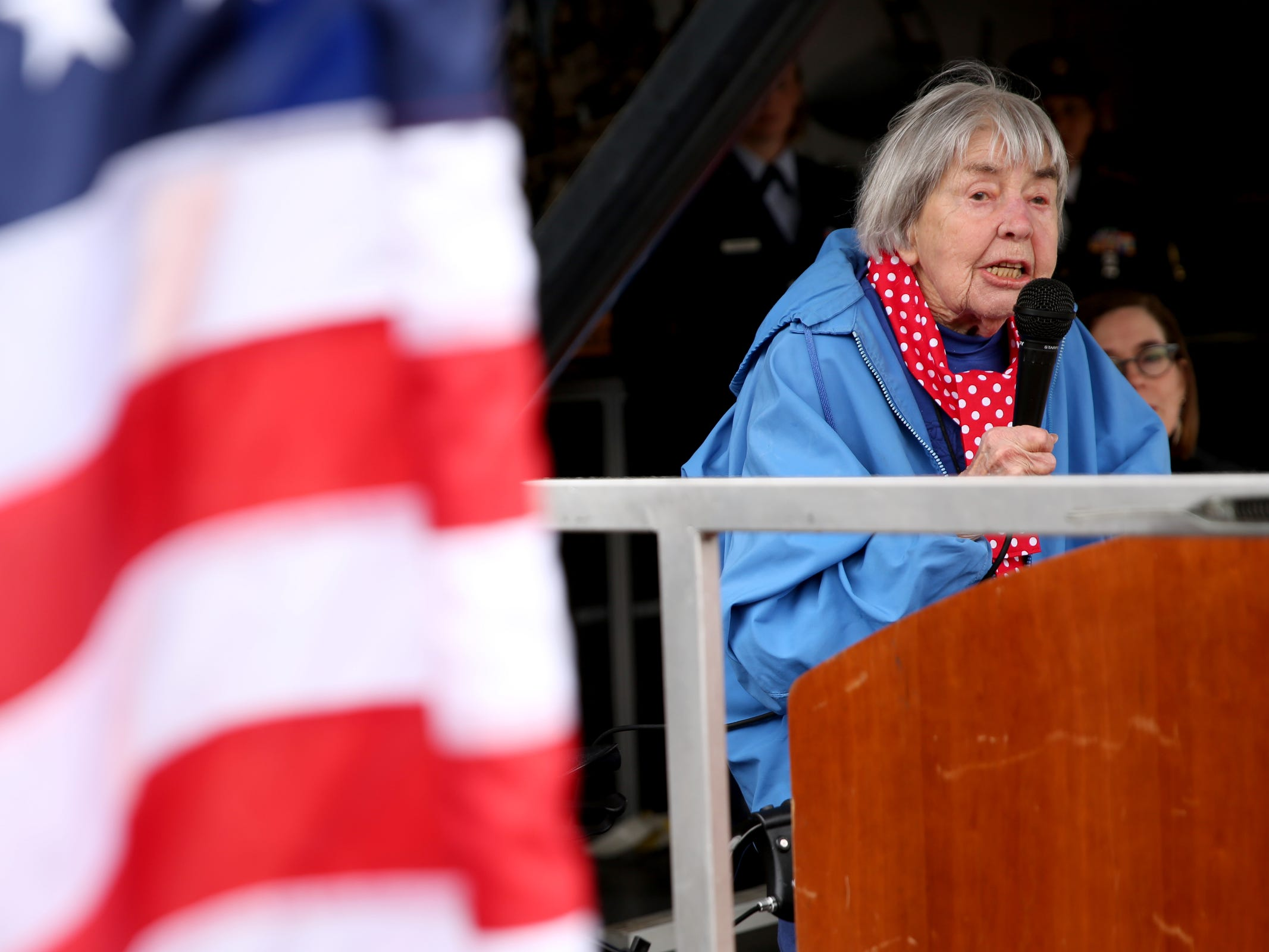 Rita Hathaway, a real-life Rosie the Riveter who worked in a Boeing plant during World War II, speaks during an Armed Forces Day celebration at the Oregon State Capitol in Salem on May 14, 2019.