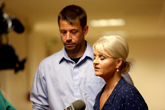 Grandparents of Kalin Swartz's son, Heidi Sjolander and Scott Sjolander, speak to media after her sentencing at the Marion County Circuit Court in Salem on May 14, 2019. Swartz was sentenced to two years and eight months in prison for giving her 2-year old cocaine.