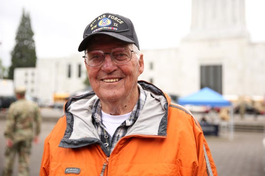 John Schneider, of Salem, an Air Force veteran of World War II attends an Armed Forces Day celebration at the Oregon State Capitol in Salem on May 14, 2019.