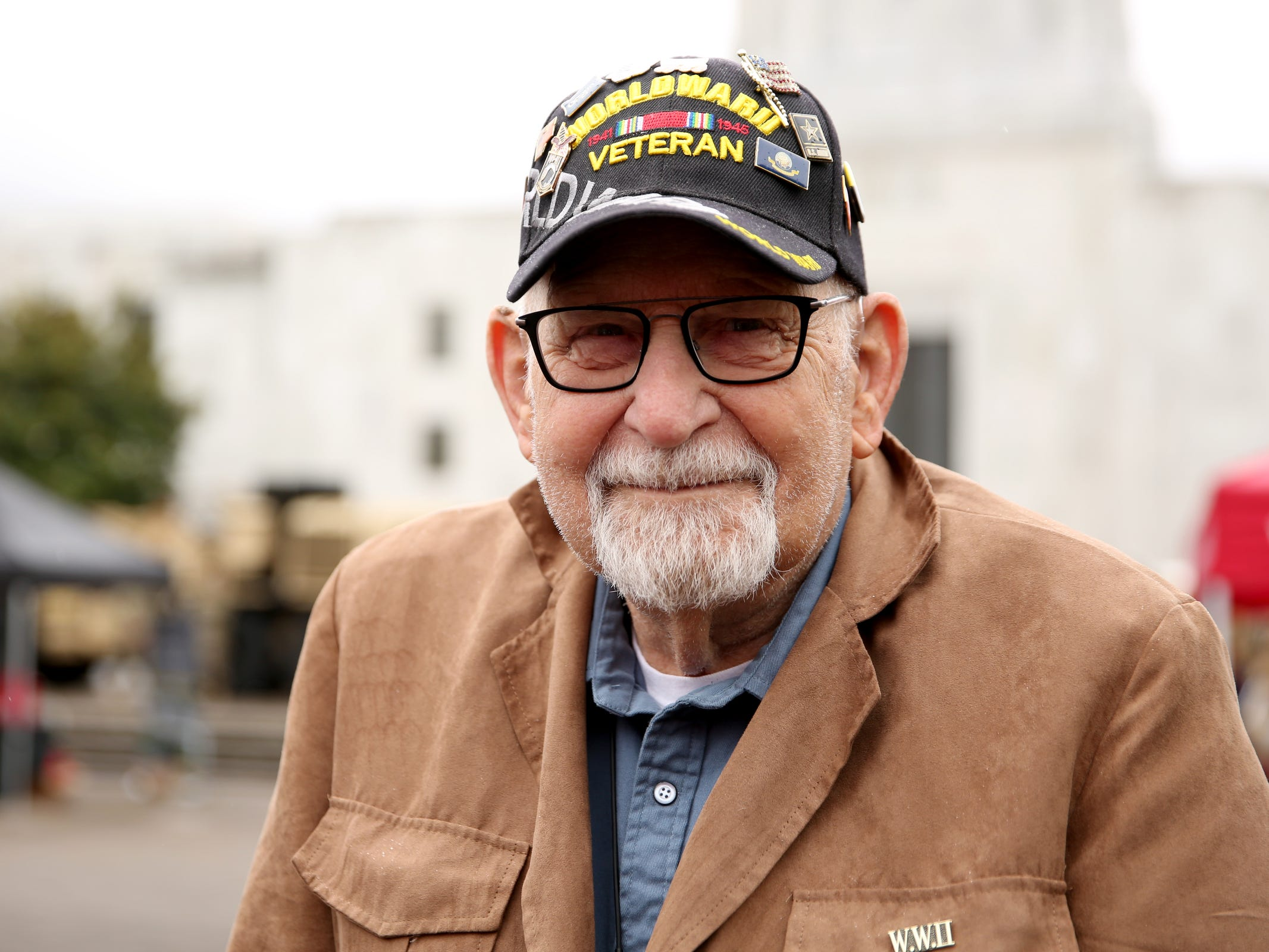 Dick Cox, of Salem, a Navy veteran of World War II attends an Armed Forces Day celebration at the Oregon State Capitol in Salem on May 14, 2019.