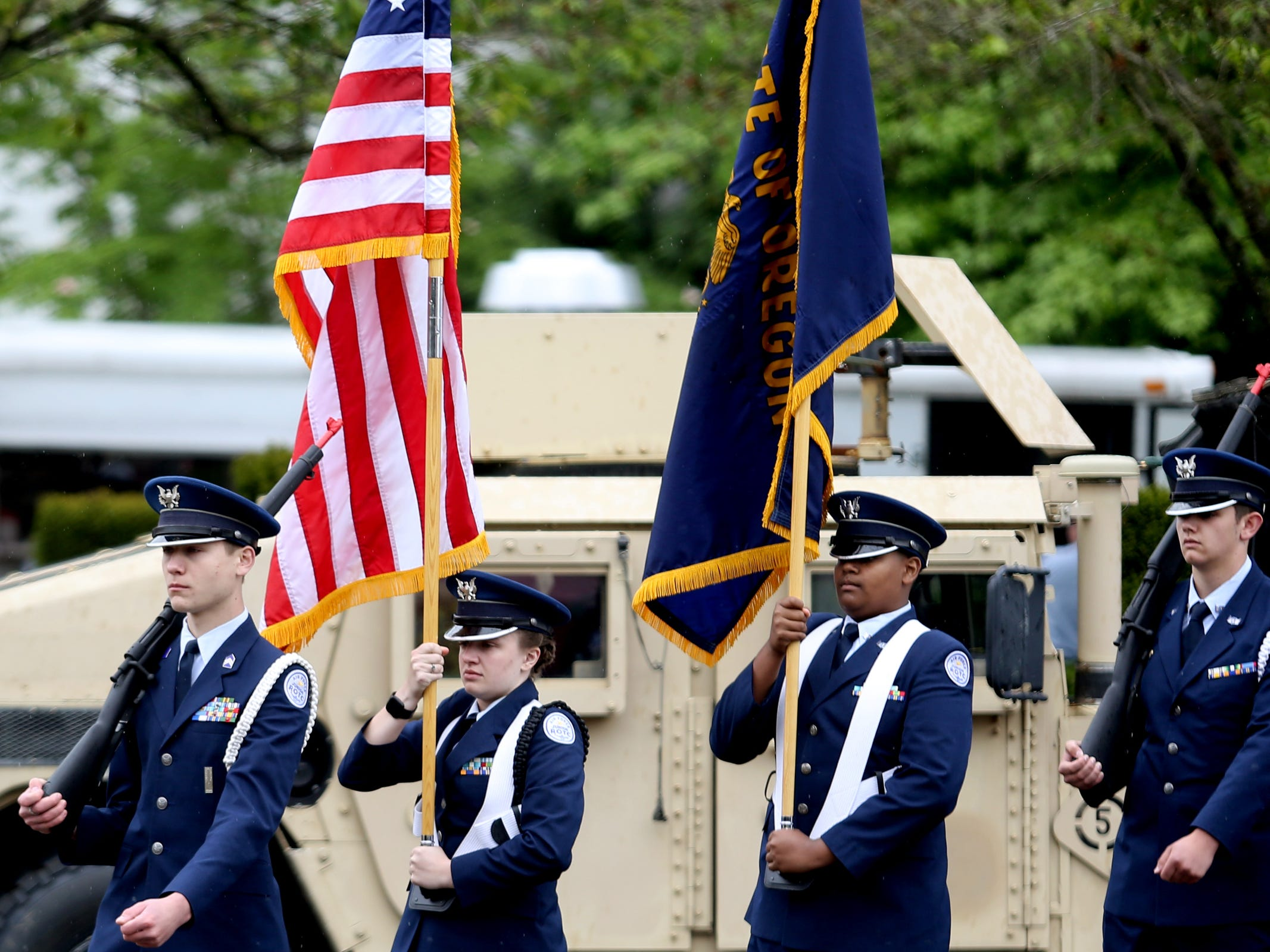 A JROTC color guard arrives for an Armed Forces Day celebration at the Oregon State Capitol in Salem on May 14, 2019.