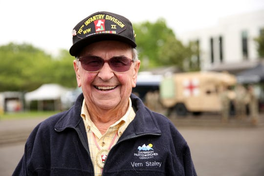 Vern Staley, of Stayton, an Army World War II veteran, attends an Armed Forces Day celebration at the Oregon State Capitol in Salem on May 14, 2019.
