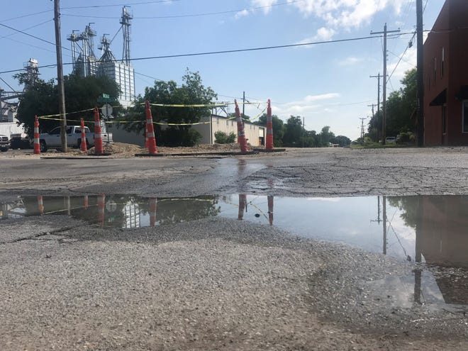 An 18-inch line, which ties into a 20-inch line had busted in the 300 block of Martin Luther King Drive. Photo taken Tuesday, May 14, 2019.