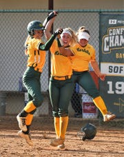 Mardela's Sam Lanham and Alexa Jones celebrate after defeating Snow Hill in the 1A East playoffs on Tuesday, May 14, 2019.