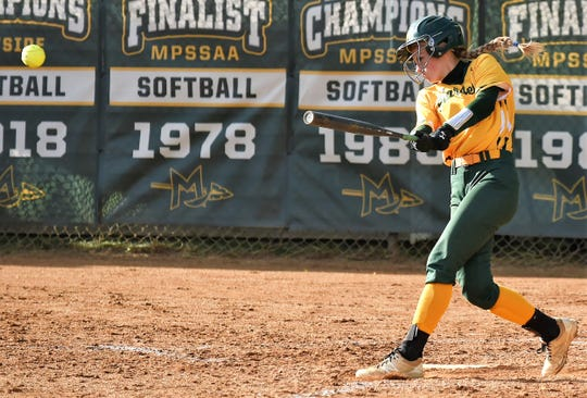Mardela shortstop Alexa Jones get a hit against Snow Hill in the 1A East playoffs on Tuesday, May 14, 2019.