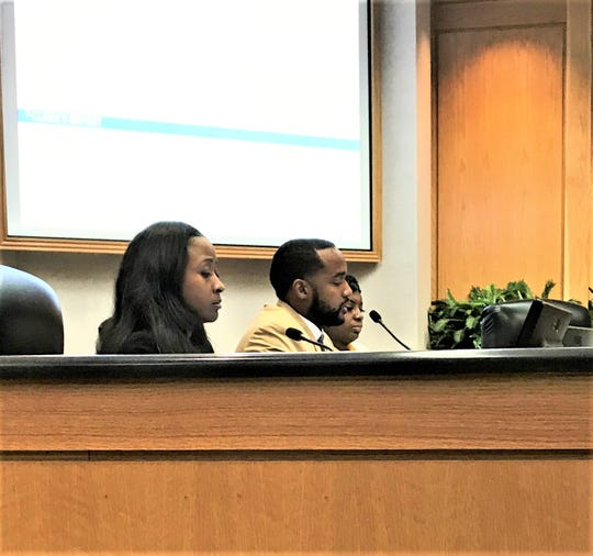 Mayor Adrian Perkins, Chief Administrative Officer Sherika Fields, and Secretary Shanerika Flemmings at administrative work session May 14
