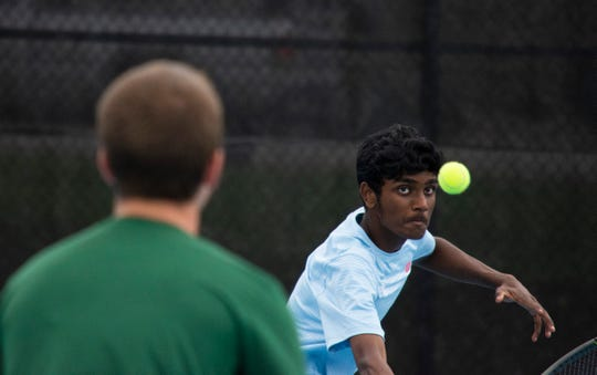 Lincoln's Rahul Giri competes at the 2018 state tennis meet in Rapid City.